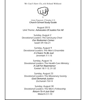 July 26 Church School Guide