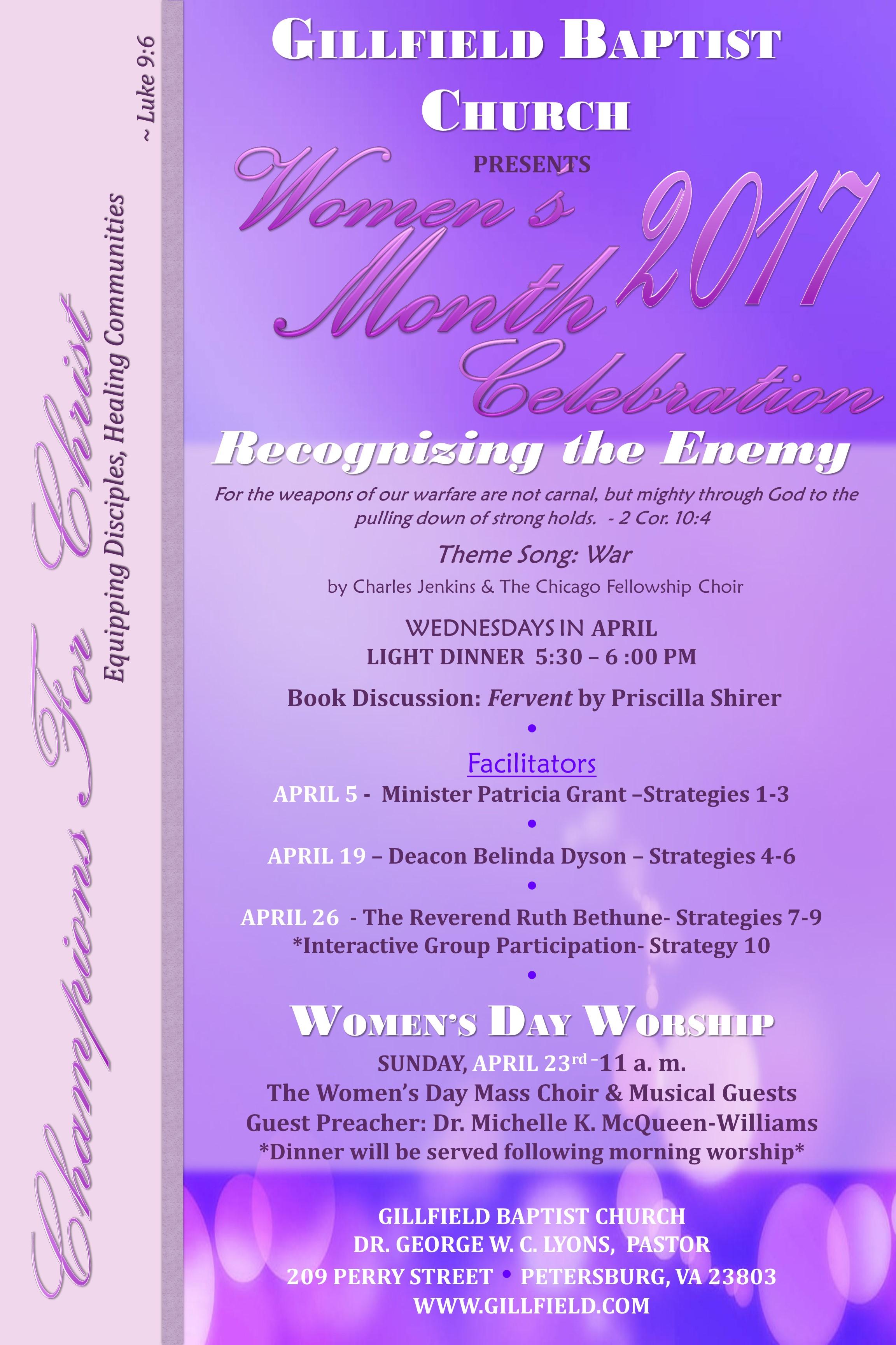 2017 women's month celebration – gillfield baptist church